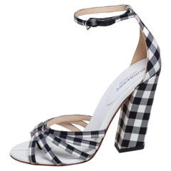 Burberry Black/White Canvas And Leather Ankle Strap Sandals Size 37