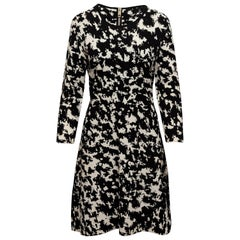 Burberry Black & White Intarsia Speckled Dress