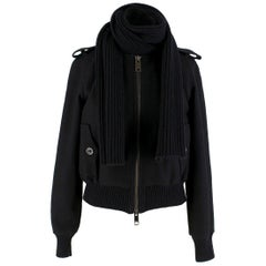 Burberry Black Wool Blend Cropped Bomber Jacket US 2