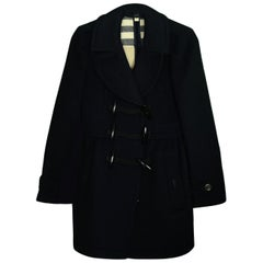 Burberry Black Wool Coat w/ Toggle sz 4