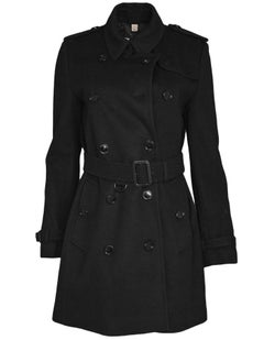 Burberry Black Wool Double-Breasted Coat Sz 8 with Tag