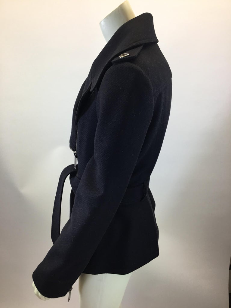 """Burberry Black Wool Moto Jacket $599 Made in Poland 90% Wool, 10% Cashmere Size 8 Length 25"""" Bust 37"""" Waist 32"""""""