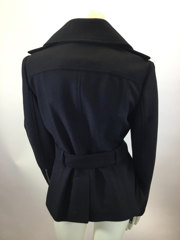 Burberry Black Wool Moto Jacket In Good Condition For Sale In Narberth, PA