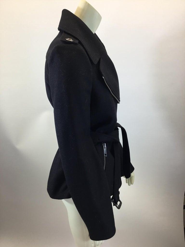 Women's Burberry Black Wool Moto Jacket For Sale