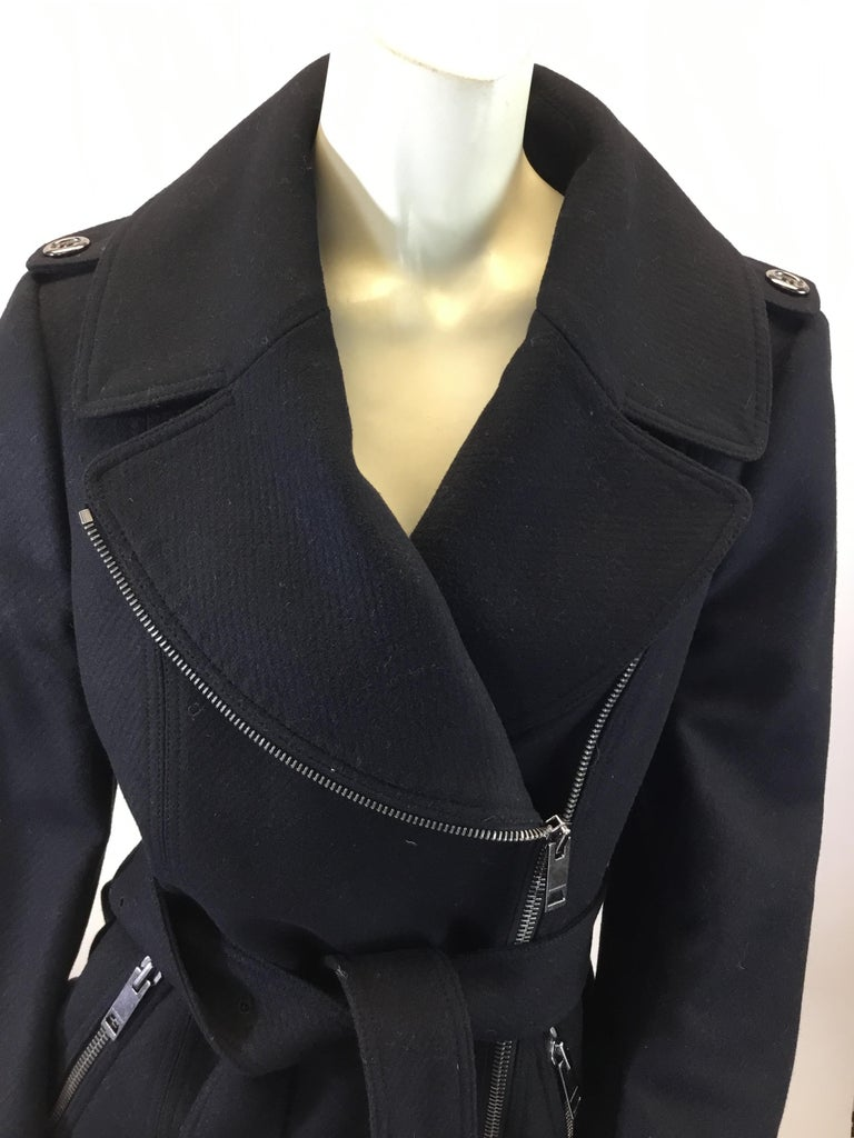 Burberry Black Wool Moto Jacket For Sale 1