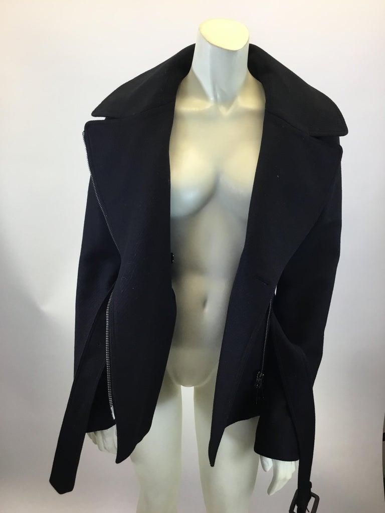 Burberry Black Wool Moto Jacket For Sale 2