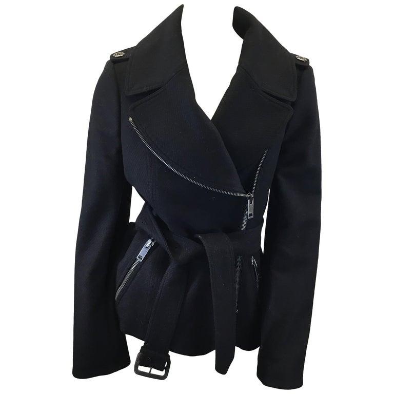 Burberry Black Wool Moto Jacket For Sale