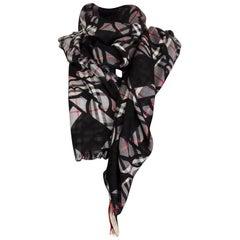 BURBERRY black wool & silk CHAIN PRINT Scarf Shawl