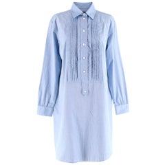Burberry Blue Bib-Front Cotton-Chambray Shirt Dress IT40