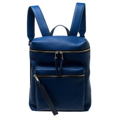 Burberry Blue/Black Leather and Nylon Donny Backpack