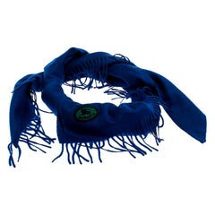 Burberry Blue Cashmere Fringe Trimmed Triangle Scarf