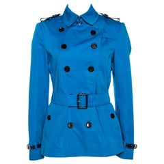 Burberry Blue Cotton Double Breasted Trench Coat M