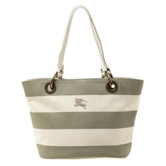 Burberry Blue Label Beige/Green Striped Canvas Tote