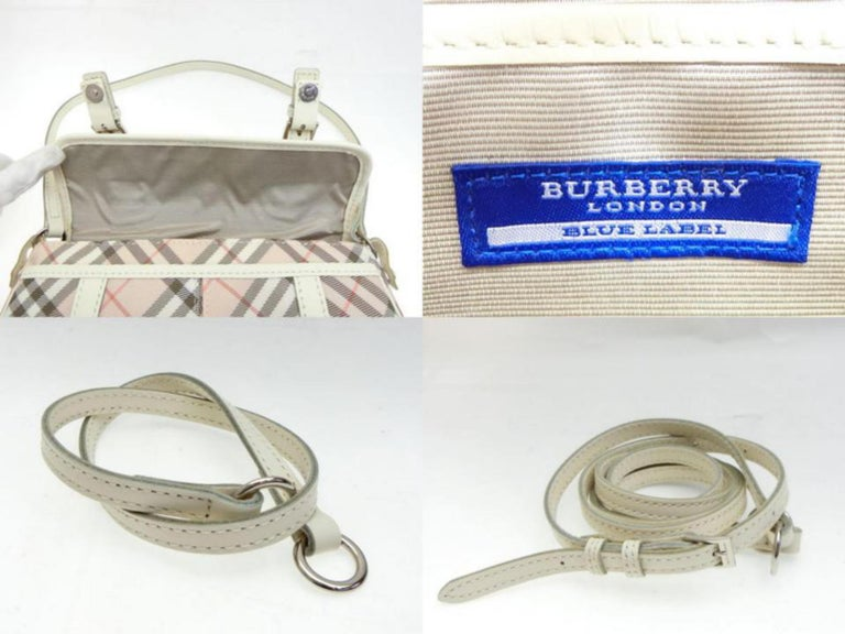Burberry Blue Label Nova Check 231788 Pink Canvas Cross Body Bag For Sale 6