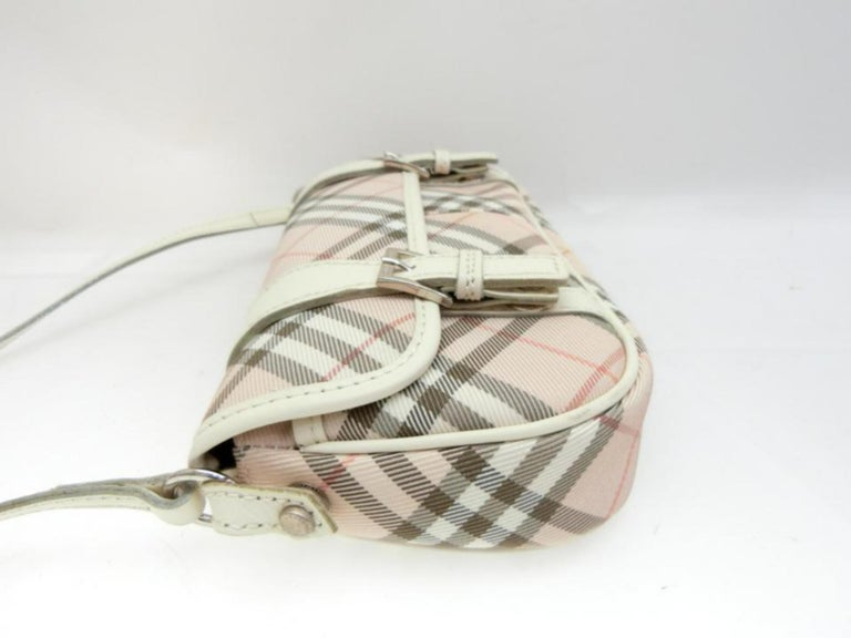 Burberry Blue Label Nova Check 231788 Pink Canvas Cross Body Bag For Sale 7