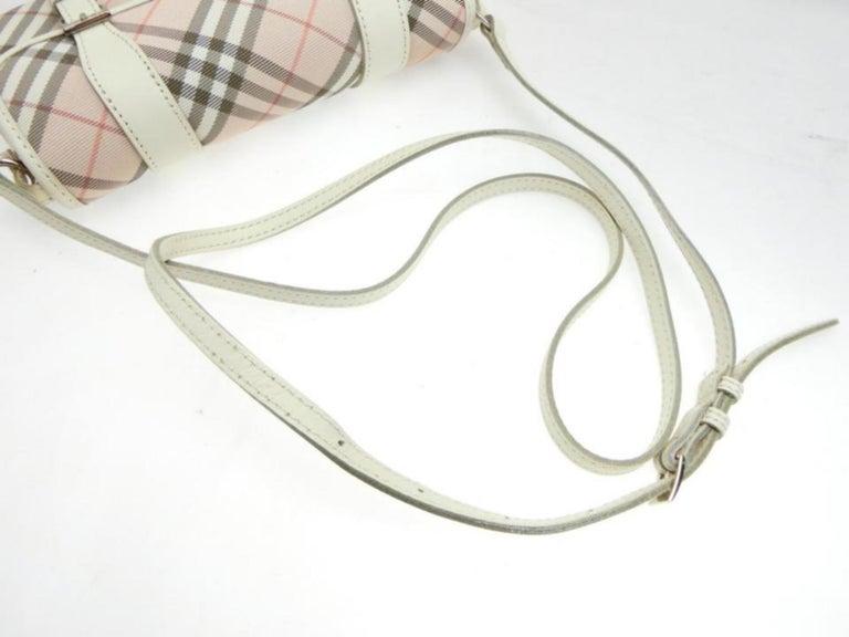 Women's Burberry Blue Label Nova Check 231788 Pink Canvas Cross Body Bag For Sale