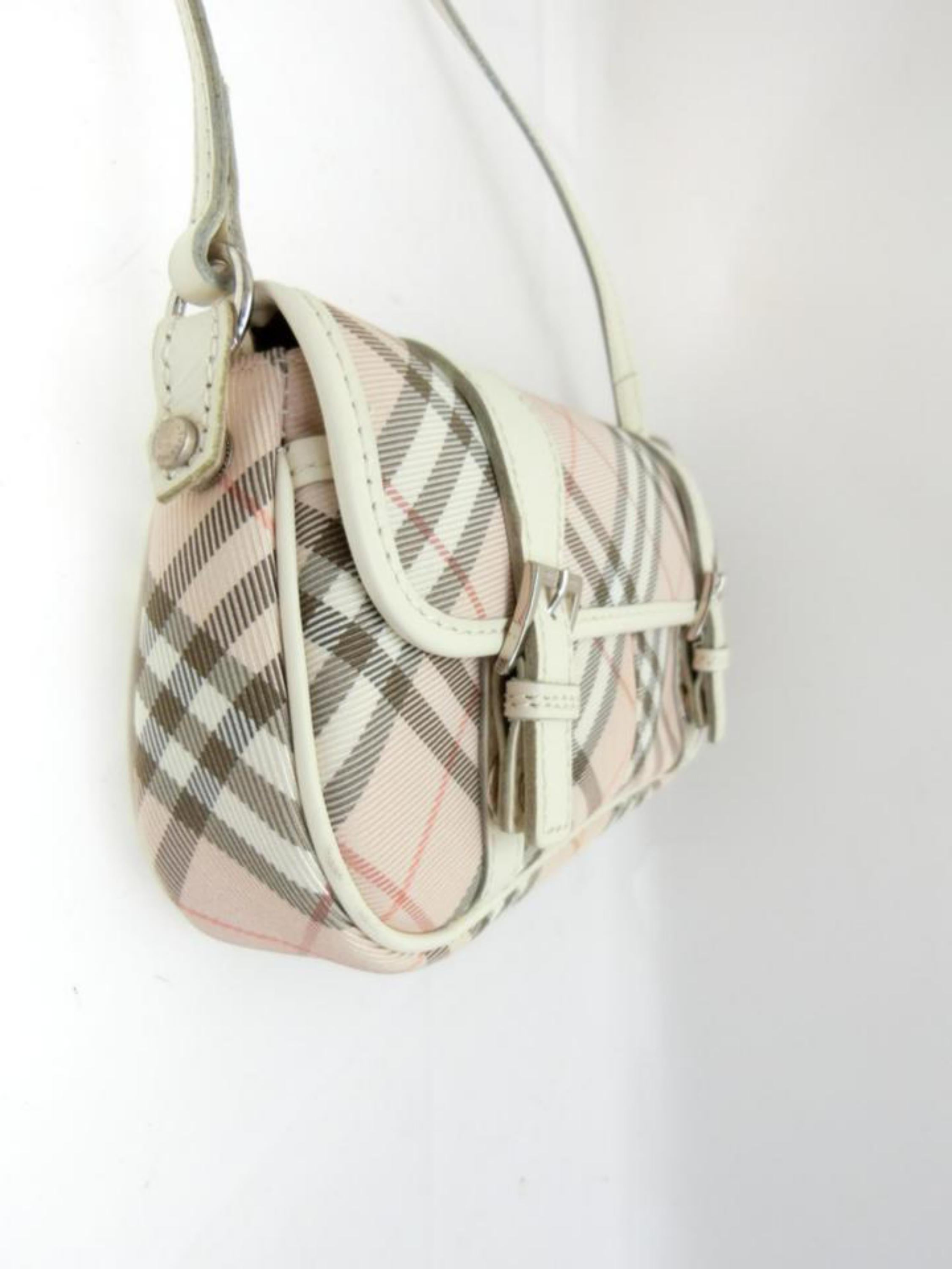 cceb9b31513d Burberry Blue Label Nova Check 231788 Pink Canvas Cross Body Bag For Sale  at 1stdibs