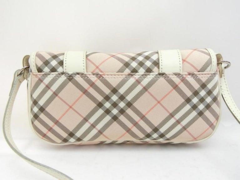 Burberry Blue Label Nova Check 231788 Pink Canvas Cross Body Bag For Sale 3
