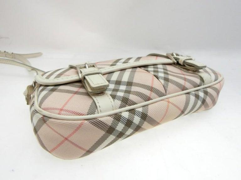 Burberry Blue Label Nova Check 231788 Pink Canvas Cross Body Bag For Sale 4
