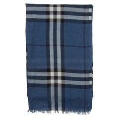 Burberry Blue & Multicolor Nova Check Silk-Blend Scarf