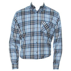Burberry Blue Novacheck Cotton Blend Long Sleeve Button Front Shirt XL