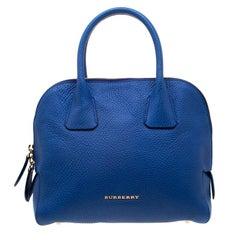 Burberry Blue Pebbled Leather Yorke Satchel
