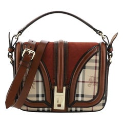 Burberry  Brickfield Satchel Haymarket Coated Canvas and Suede Small