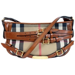 Burberry Bridle Brown Beige Leather Cotton House Check Hobo Bag