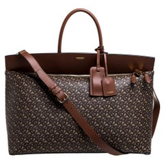 Burberry Bridle Brown Coated Canvas Extra Large Society Top Handle Bag