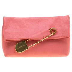 Burberry Bright Coral Leather Pin Clutch
