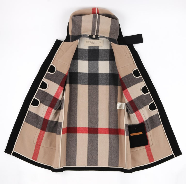 """BURBERRY Brit A/W 2013 """"Broadhurst"""" Men's Black Toggle Hooded Duffle Coat Jacket For Sale 1"""