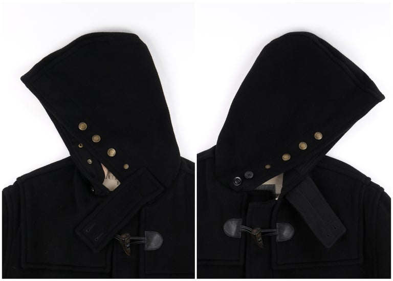 """BURBERRY Brit A/W 2013 """"Broadhurst"""" Men's Black Toggle Hooded Duffle Coat Jacket For Sale 2"""