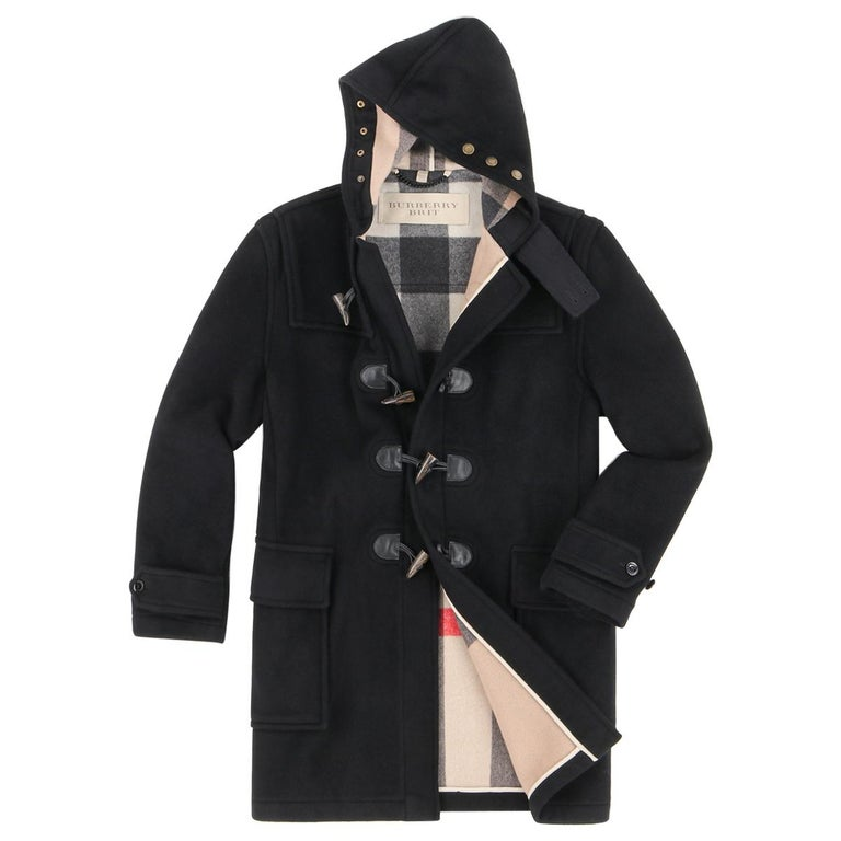 """BURBERRY Brit A/W 2013 """"Broadhurst"""" Men's Black Toggle Hooded Duffle Coat Jacket For Sale"""