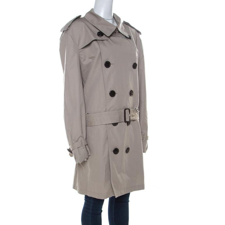 Burberry Brit Beige Cotton Twill Double Breasted Belted Trench Coat XXL In Good Condition In Dubai, Al Qouz 2