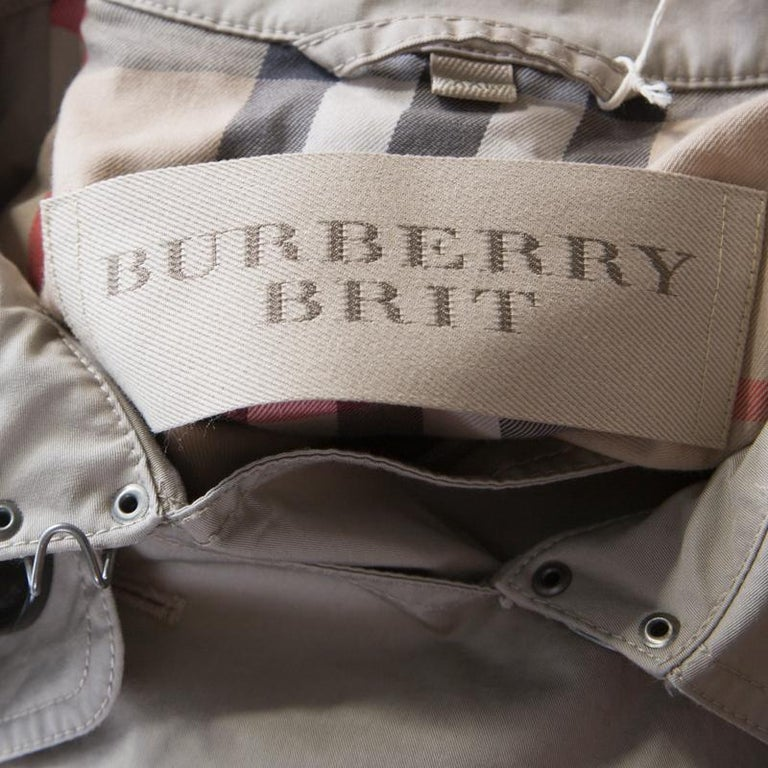 Burberry Brit Beige Cotton Twill Double Breasted Belted Trench Coat XXL 1