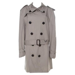 Burberry Brit Beige Cotton Twill Double Breasted Belted Trench Coat XXL