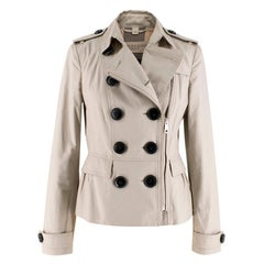 Burberry Brit Beige Cropped Asymmetric Trench Coat XS IT36