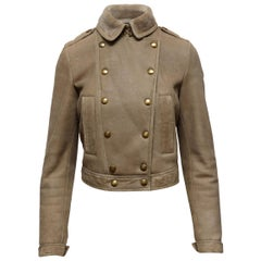 Burberry Brit  Beige Double-Breasted Shearling Jacket