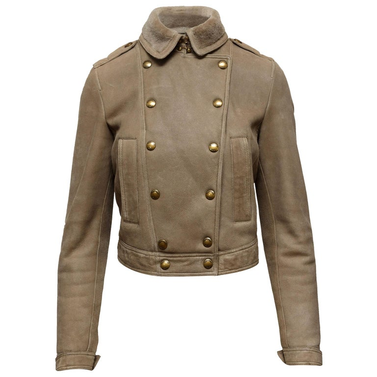 Burberry Brit  Beige Double-Breasted Shearling Jacket For Sale