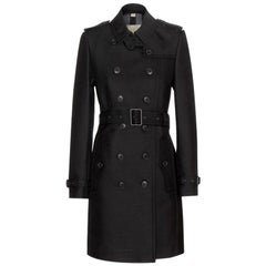 BURBERRY BRIT black cotton blend BRAMINGTON TRENCH Coat Jacket 14 M