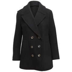 Burberry Brit Black Double-Breasted Wool Peacoat