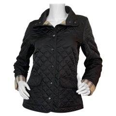 Burberry Brit Black Quilted Jacket w/Nova Plaid Lining sz Small