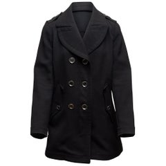 Burberry Brit Black Wool-Blend Peacoat