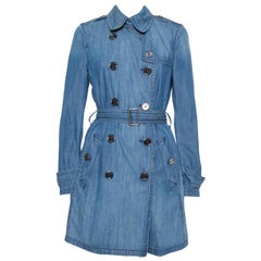 Burberry Brit Blue Denim Double Breasted Belted Trench Coat M