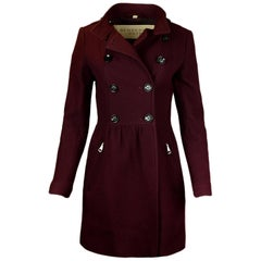 Burberry Brit Burgundy Wool Coat sz 4