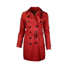 Burberry Brit Burnt Orange Double Breasted Trench Coat w Belt sz 2