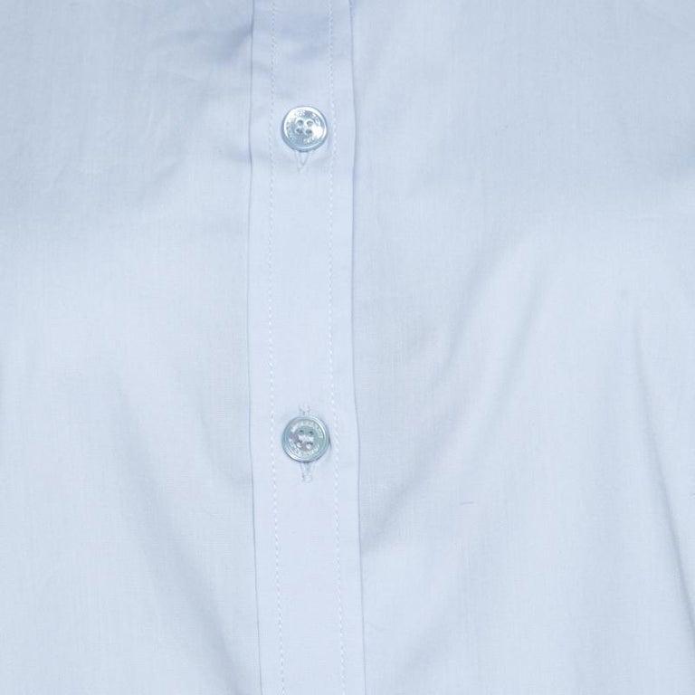 Women's Burberry Brit City Blue Cotton Stretch Button Front Shirt XL