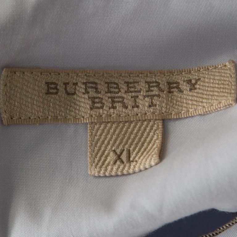 Burberry Brit City Blue Cotton Stretch Button Front Shirt XL 1
