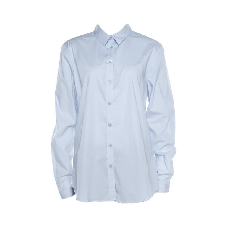 Burberry Brit City Blue Cotton Stretch Button Front Shirt XL