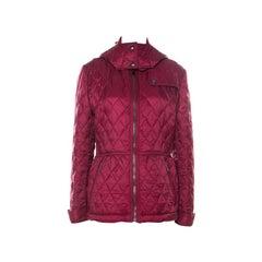 Burberry Brit Dark Crimson Quilted Cobfield Peplum Jacket XL